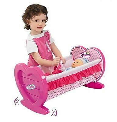 Pink Dolls Rocking Cradle Crib Cot Bed Girls Toy With Blanket & Pillow 008-08