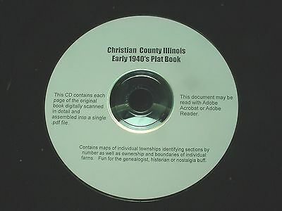 CD ~ Late 1930's Christian County Illinois Plat Map Book