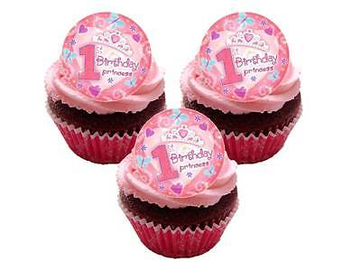 24 x First 1st Birthday Girl Pink Party Bag STAND UPS Edible Cup Cake Toppers