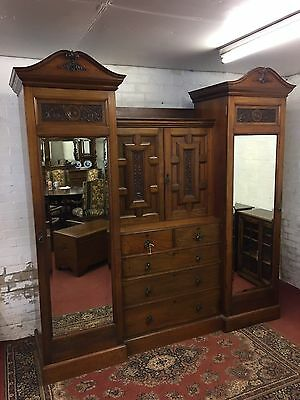 Outstanding Victorian Carved Walnut Combination Wardrobe
