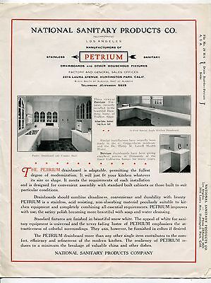 Vintage NATIONAL SANITARY PRODUCTS Sales Brochure: PETRIUM DRAINBOARDS [L.A.]