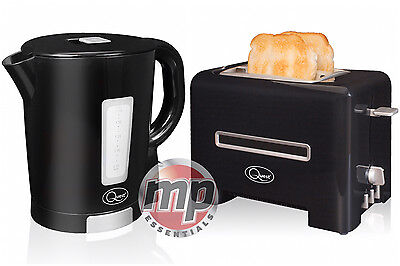 Quest 2 Slice Toaster  & 1.7L Cordless Jug Kettle Black & Silver Kitchen Set Kit