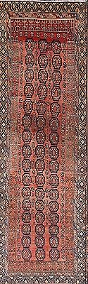 Top Deal Antique Geometric Hand Knotted Runner 3x10 Ardebil Persian Oriental Rug