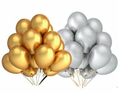 "30Pk Gold Silver 9"" Assorted Metallic Balloons Birthday Wedding Party Decoration"