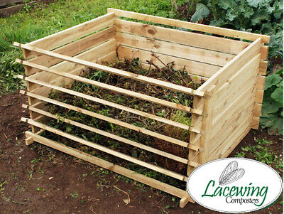 Easy Load Wooden Compost Bin Garden Waste Composting Wood Bins Organic Disposal