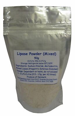Lipase Enzyme (Mixed) 50g pack - for cheesemaking