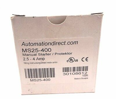 New Automation Direct Ms25-400 Manual Starter Ms25400