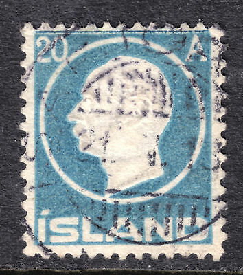 1912 ICELAND EMBOSSED #94 20a PALE BLUE, F, CDS CANCEL