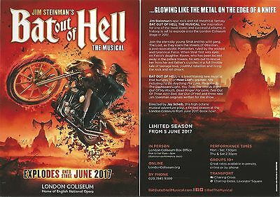 Bat Out Of Hell  Jim Steinman Musical  Meat Loaf  London Coliseum 2017 Flyer x 2