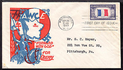 1943 WASHINGTON, DC., #915 5c on FRANCE OCCUPIED NATIONS FDC