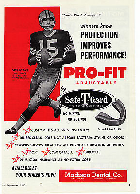 1963 Vintage Bart Starr Green Bay Packers Pro-Fit Mouthpiece Print Advertisement