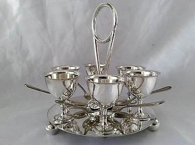 Large Victorian Sheffield  Silver Plated Egg Cruet Set John Gallimore C.1880