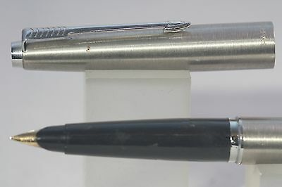 c1970-79 Parker 45 Flighter Fountain Pen, Brushed Stainless Steel & Chrome Trim
