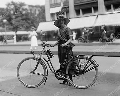 Lady In Dress With Antique Bicycle 1900s 8x10 Reprint Of Old Photo