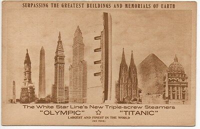 White Star Line Postcard: TITANIC & OLYMPIC Comparison to Buildings Heights 1911