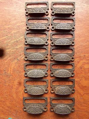 Fourteen Antique Fancy Iron Victorian Pharmacy Drawer Handles Bin Pulls c1885
