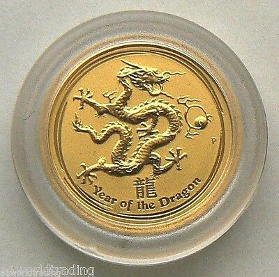 NEW 2012 1/20 OZ LUNAR DRAGON GOLD COIN UNC in CAPSULE