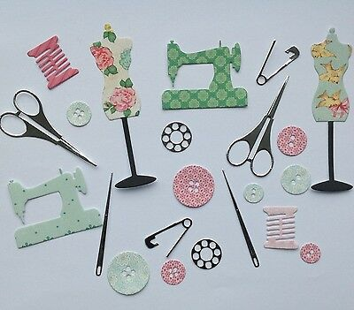 Dressmaking, Sewing, Needlework Die Cut Shapes - Birthday Cards, Toppers, Crafts