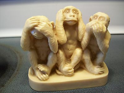 The Three Monkeys  3 1/2 In. Tall 4 1/2 In. Wide Almost A Pound Neat