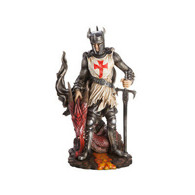 Crusader w/ Red Dragons Head Knight Armour Sword Mask Figurine Statue Collection