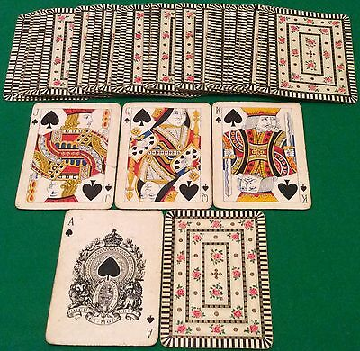 ANTIQUE c1910  GOODALL  ** SMALL PINK ROSE FLOWERS **  WIDE PLAYING CARDS