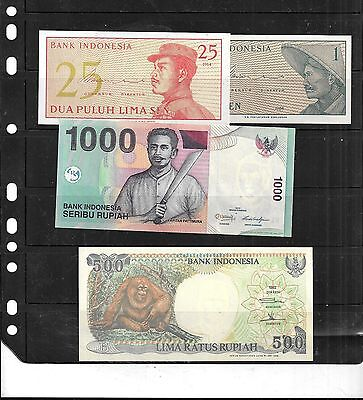 Indonesia 4 Diff Uncirculated Banknote Bill Paper Money Note Lot Set Collection