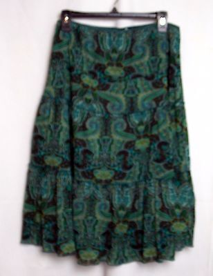 Motherhood Maternity Skirt Tiered Pull On Style Lined Green Paisley Large #4540