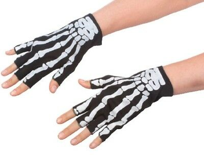 Adult Black White Skeleton Bone Print Fingerless Gloves Punk Costume Accessory