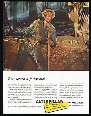 1956 Caterpillar Tractor Co Fire Fighting Burning Forest Vintage Print Ad