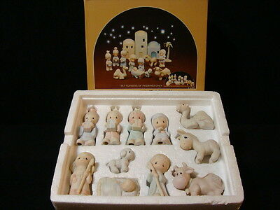 t Precious Moments-11 Pc Mini Nativity Set *RARE TURBAN BOY* 1'st Hourglass Mark
