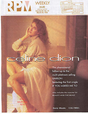 "1992 Celine Dion  ""If You Asked Me To"" ""RPM"" Vintage Magazine Cover (only)"