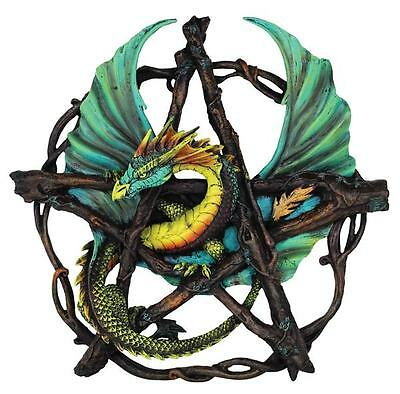 "Forest Dragon Pentagram Plaque - 13"" -  Wall Hanging"