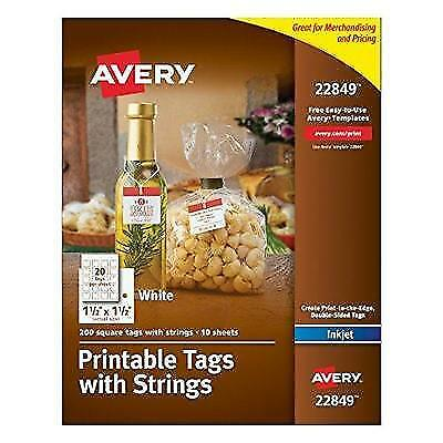 Avery Printable Tags with Strings, White, 1.5 x 1.5 Inches, Pack of 200 New