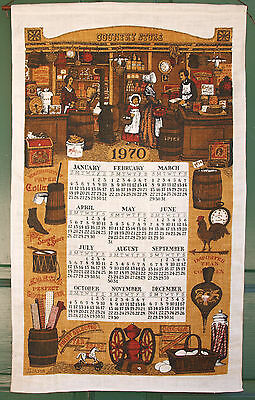 Vintage Hanging Linen Kitchen Calendar  197O   COUNTRY STORE