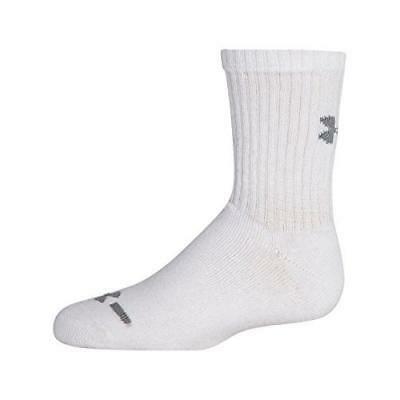 Under Armour Crew Socks (6-Pair), Solid White, Youth Large New