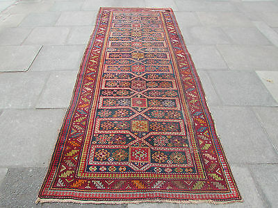 Antique Traditional Hand Made Caucasian Blue wool Oriental Rug Runner 342x138cm