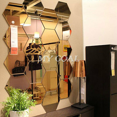 12Pcs 3D Mirror Hexagon Vinyl Removable Wall Sticker Decal Home Decor DIY Art