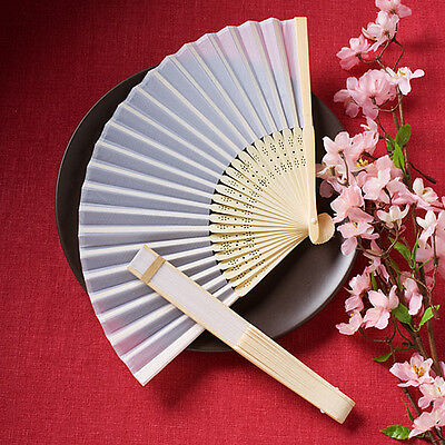 1 x Elegant White Silk Folding Fan - NEW - Wedding and party accessory