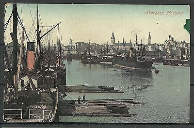 Postcard : Aberdeen Harbour with variety of working ships, posted Wormit 1907
