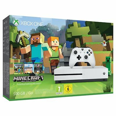 Xbox One Slim Console White 500GB With Minecraft Game Bundle 4K Ultra HD