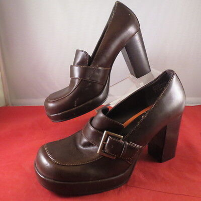 aef7fa83aaf4 Womens 90s Vintage Mudd Platform Chunky Heel Shoes Club Grunge Rave Size  8.5 M