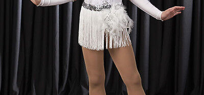 New White FRINGE SKIRT ONLY Costume Accessory Jazz Tap Dance Adult S, L