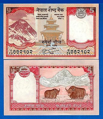 Nepal P-60 5 Rupees ND Year 2010 Mount Everest Uncirculated