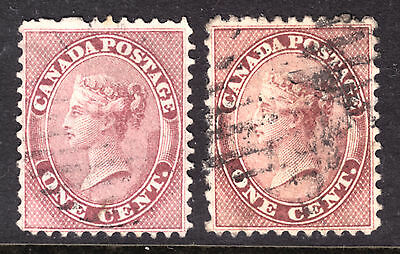 1859 FIRST CENTS ISSUE SET/2 #14-14viii 1c ROSE, F-VF, GRID CANCELS