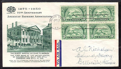 1950 SARATOGA SPRINGS, NY., #987 3c BLOCK/4 on AMERICAN BANKERS ASSOC. FDC