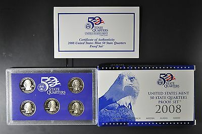 2008 S U.S. Mint Clad Quarter Proof Set + box & COA original packaging