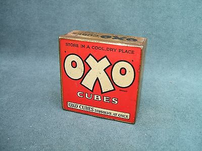 """Old OXO Cubes """" Dissolve At Once"""" Empty Tin  circa 1930s"""