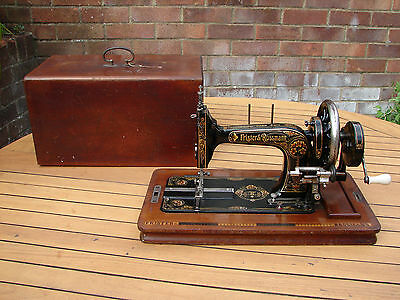 Frister Rossmann Berlin Sewing Machine Early TS Red Lilies 1914 12K Global Ship