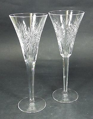 Pair of Waterford Crystal 'Health' Millenium Champagne Flutes