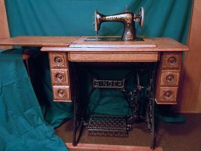Antique Victorian Singer Sewing Machine 1910 Treadle Cast Iron Ornate Wood Tools
